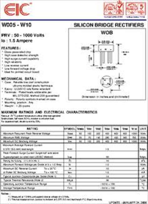 power diodes datasheet w06 datasheet 50 v 1 5 a silicon bridge rectifier