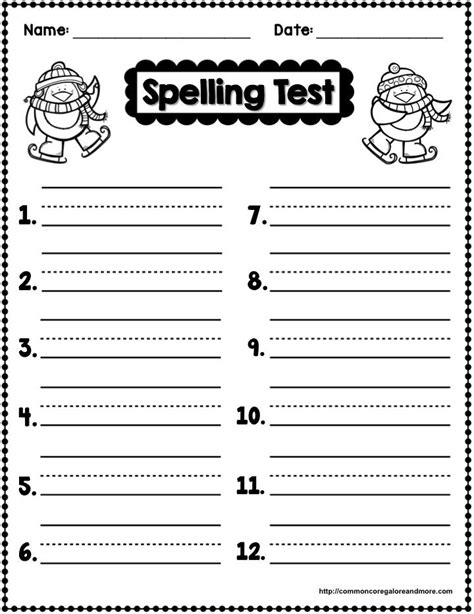 Spelling Words Worksheets by Freebie Winter Themed Spelling Test Template