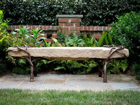 granite garden benches bench reclaimed granite with sculpted metal branch legs