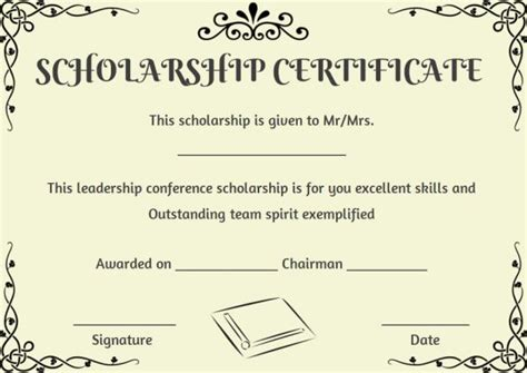 Scholarship Certificate Template 11 Professional Templates Demplates Scholarship Template