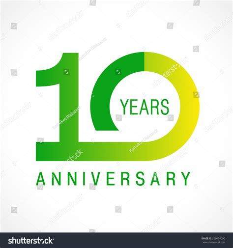 10 Year Anniversary Card Template by 10 Years Celebrating Logotype Colored Stock Vector