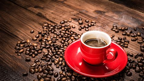 coffee wallpaper for pc 2560x1440 red coffee cup and coffee beans desktop pc and