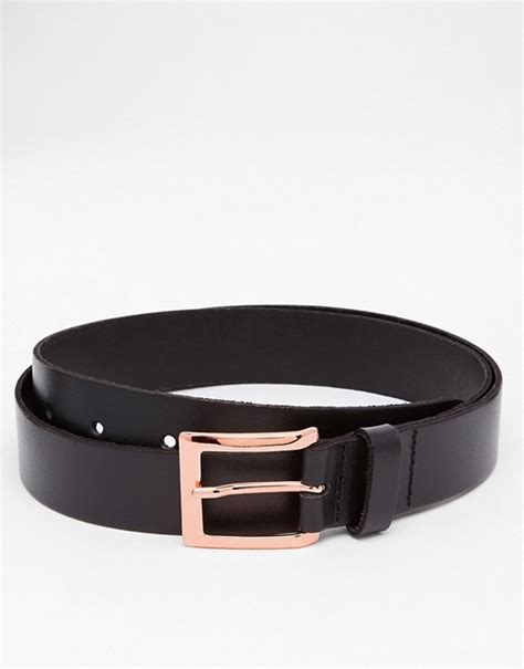 asos asos smart leather belt in black with gold buckle