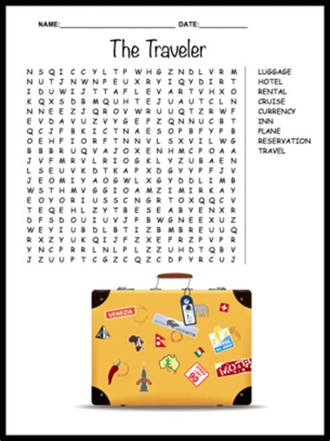 printable word search vacation traveler word search puzzle