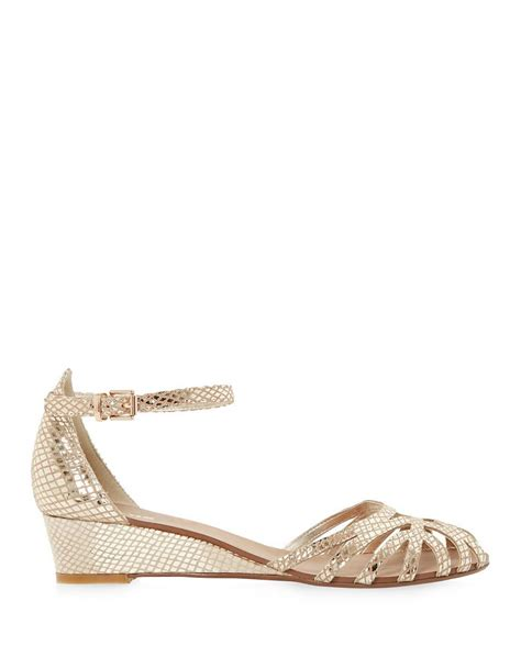 gold low wedge sandals dune knightly leather low wedge sandals in lyst