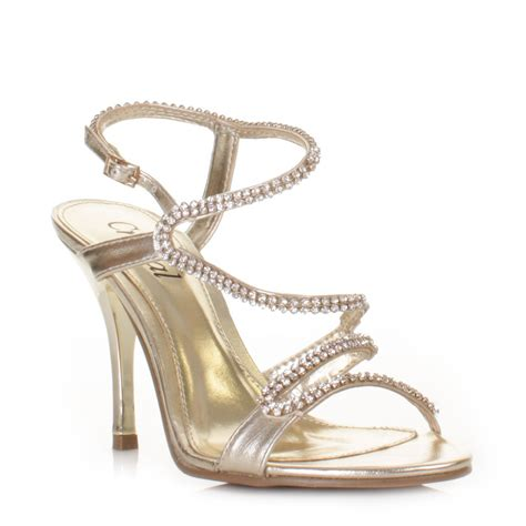 womens strappy diamante prom wedding sandals