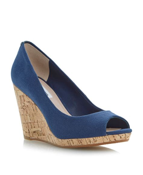 dune celia peeptoe wedge court shoes in blue lyst