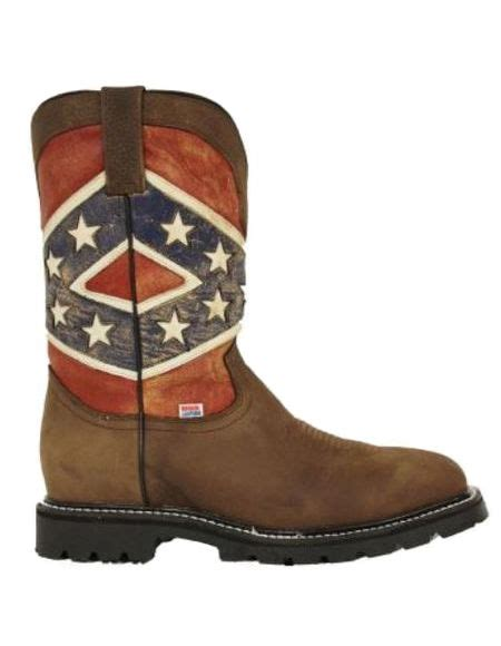 rockin leather mens rebel flag steel toe work boots