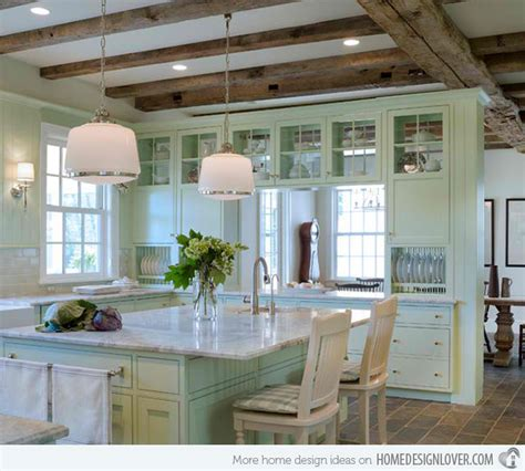 Rustic White Kitchen Cabinets 15 Pastel Green Kitchens For A Lighter Look