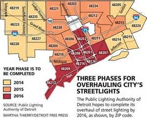 detroit zip code map detroit streetlights overhaul map detroitography