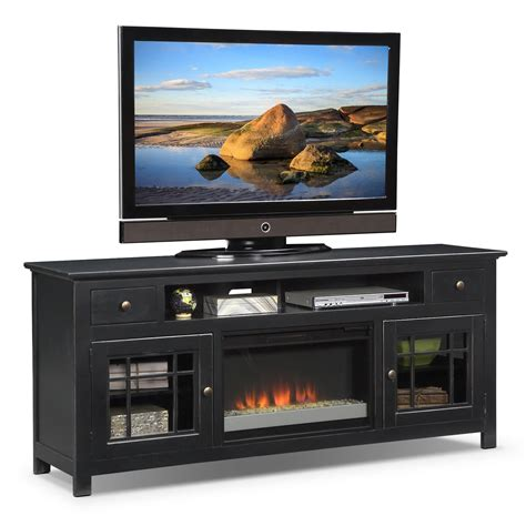 merrick black 74 quot fireplace tv stand with contemporary