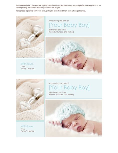 word templates for birth announcements cards office com