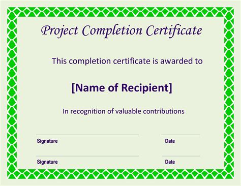 project certificate template free certificate of completion project templates at