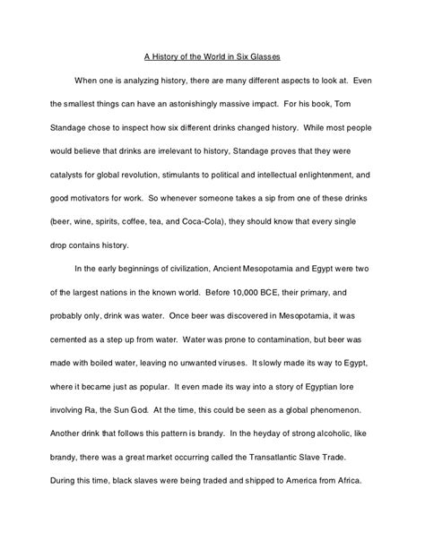 History Essays by History Of The World In Six Glasses Essay