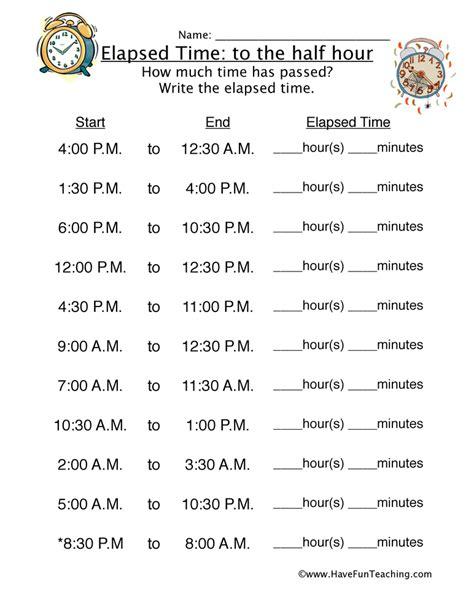 Elapsed Time Worksheets by Elapsed Time Half Hour Worksheet 2