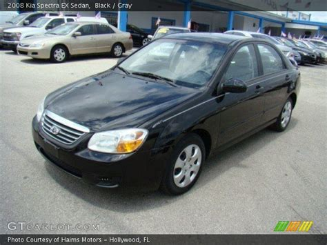 Kia 2008 Black Black 2008 Kia Spectra Ex Sedan Gray Interior
