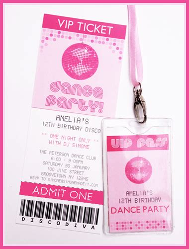 Printable Disco Dance Party Invitations Decorations Vip Birthday Invitations Templates Free