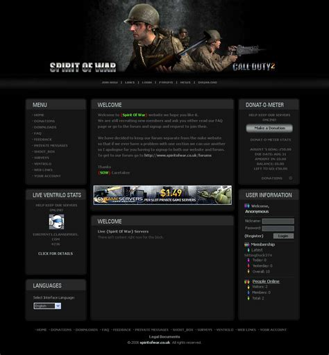 templates of website closed call of duty 2 template request free website