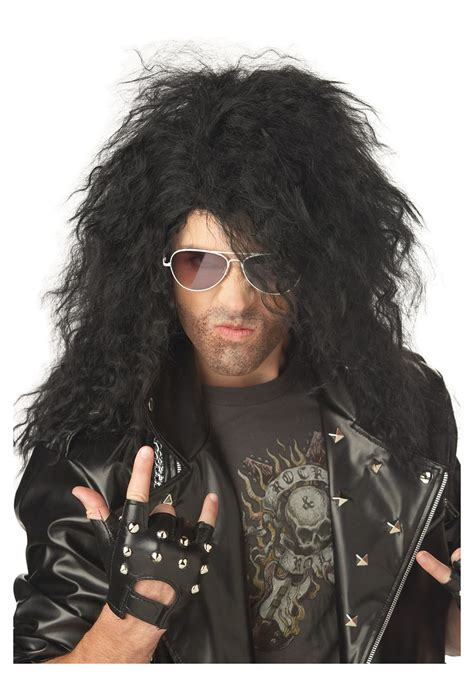 ai rocker with hair on his head black heavy metal wig