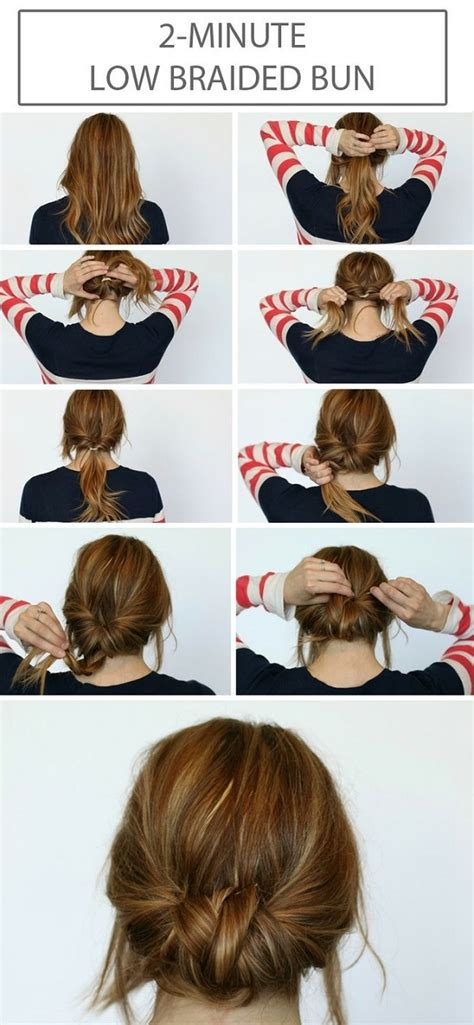 diy hairstyles bun diy low braided bun pictures photos and images for