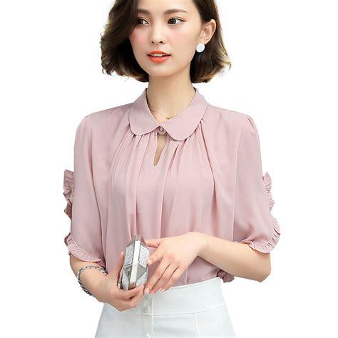 Ollan Blouse pink blouse white ruffle blouses shirt plus size