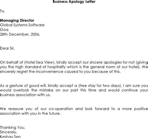 Apology Letter For Hotel Maintenance The Letter Of Apology Business Can Help You Make A Professional And Document