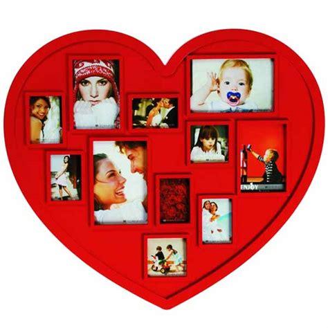 cornici a forma di cuore portafoto bianco con 7 cornici rettangolari e a cuore