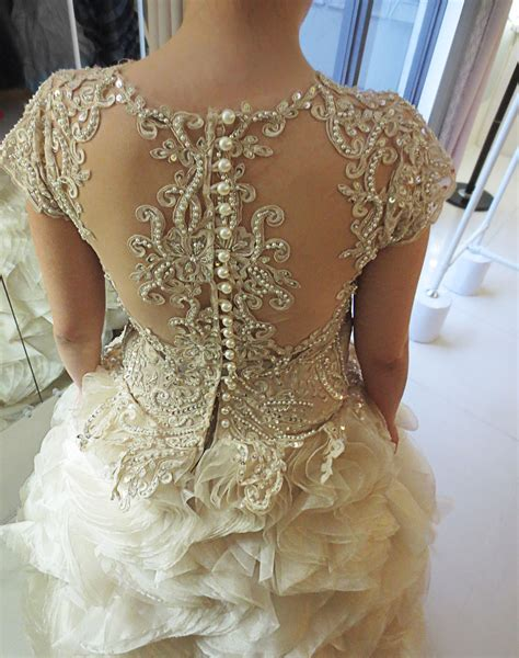 beadwork gown back buttons wedding gown gown wedding lace