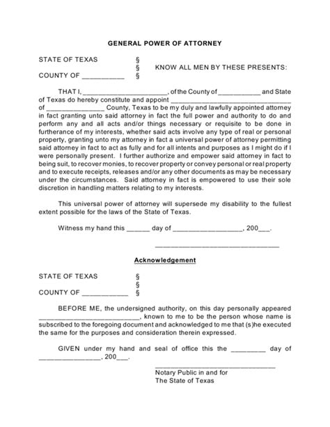 texas general power of attorney form legalforms org