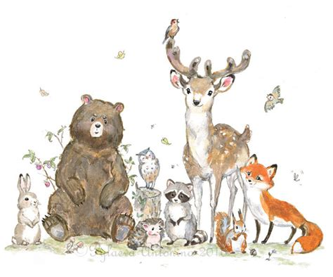 Woodland Creatures Nursery Decor by Woodland Nursery Decor Woodland Animals Giclee Forest