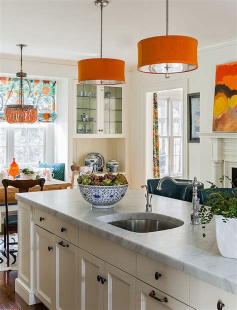 orange pendant lights kitchen orange drum pendant contemporary kitchen rosenfeld design