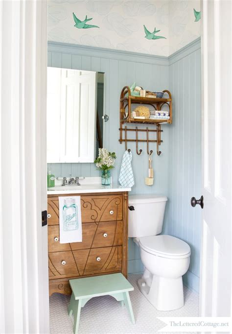 blue powder room try this a high style half bath makeover four
