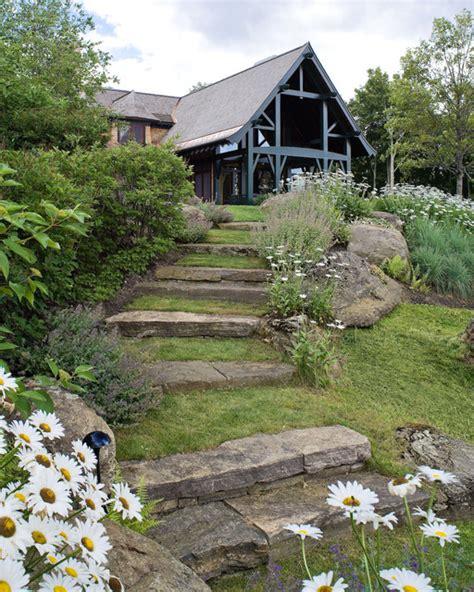 Steep Hill Backyard Ideas Mountain Lodge Contemporary Landscape Burlington