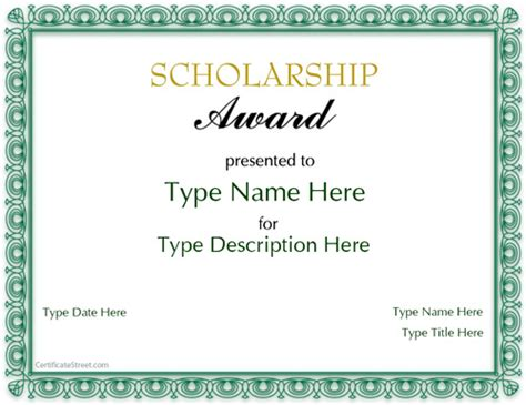 scholarship award template special certificates scholarship award