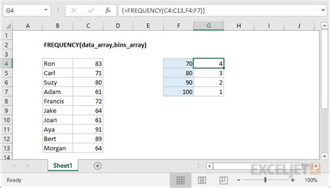 create frequency table in excel how to use the excel frequency function exceljet