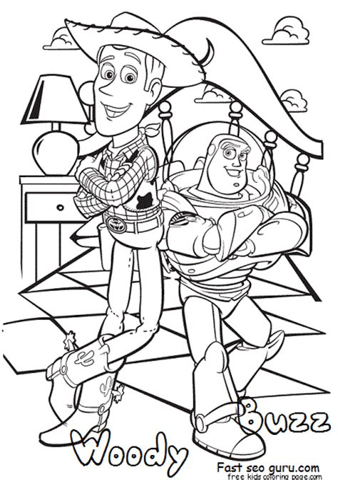 story coloring pages print out story woody and buzz coloring pages for