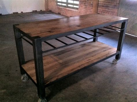handmade reclaimed wood industrial kitchen island table outdoor console table great outdoors pinterest