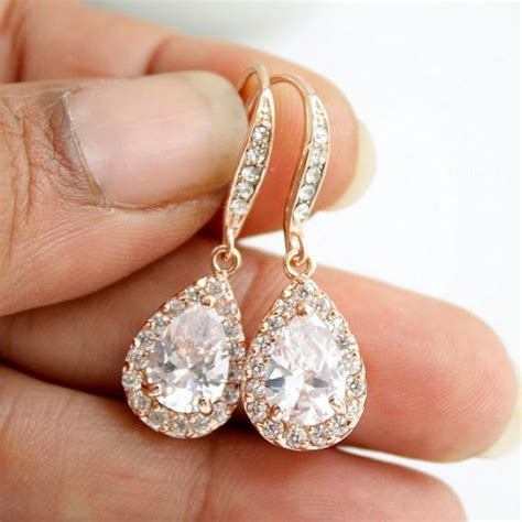Ohrringe Gold Hochzeit by Gold Bridal Earrings Pink Gold Wedding Jewelry