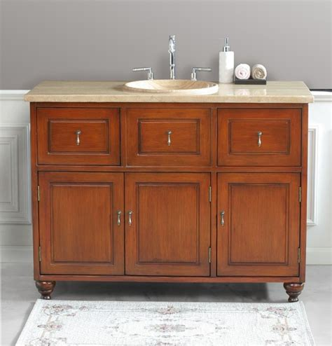 Oak Bathroom Vanity Virtu Usa 48 Quot Limburg Antique Oak Travertine Single