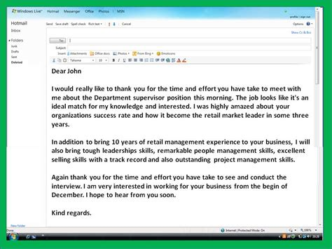 How To Get A Job Email Thank You Note After Interview Sle Thank You Email Template
