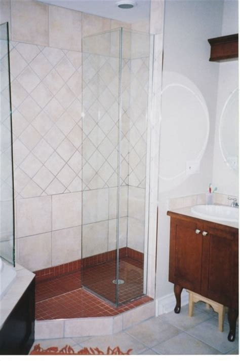 Doorless Shower For Small Bathroom Small Labyrinth Doorless Shower Traditional Bathroom Other Metro