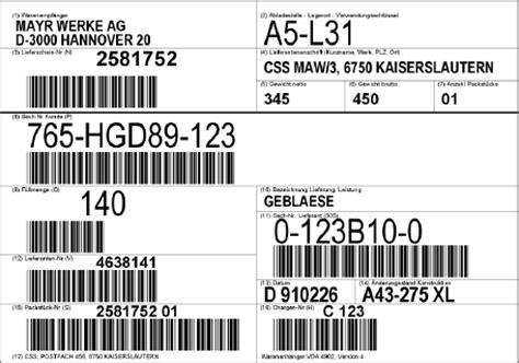 vda 4902 etikettensoftware vda warenanh 228 nger klt odette