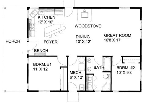 floor plan 1200 sq ft house 1200 square feet 2 bedrooms 1 batrooms on 1 levels
