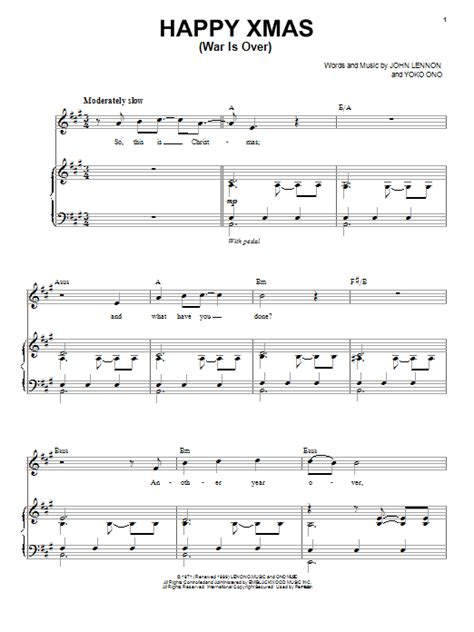 tutorial piano war is over happy xmas war is over sheet music direct
