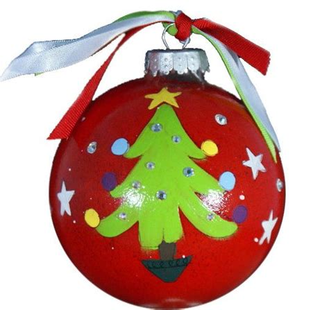 christmas tree hand painted glass ornament