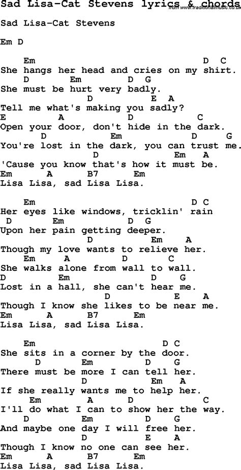 printable lyrics to next in line by lisa knowles love song lyrics for sad lisa cat stevens with chords