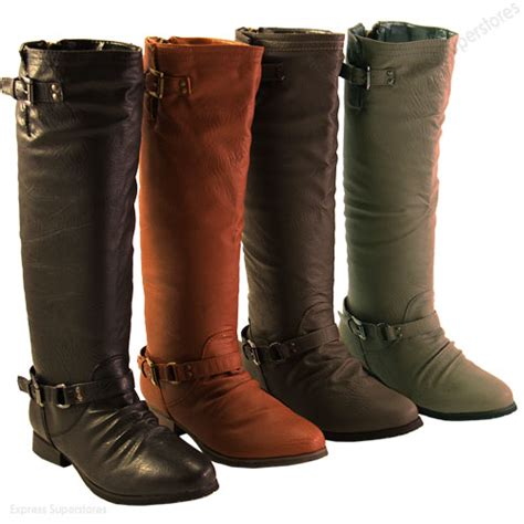 stylish womens motorcycle boots casual stylish knee high motorcycle faux leather