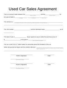 sales agreement template for car used car sales agreement free
