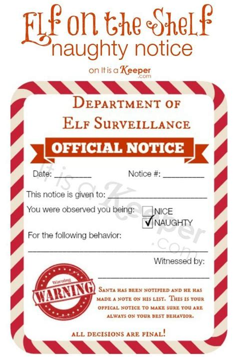 elf on the shelf naughty list warning printable free printable elf on a shelf naughty nice notices