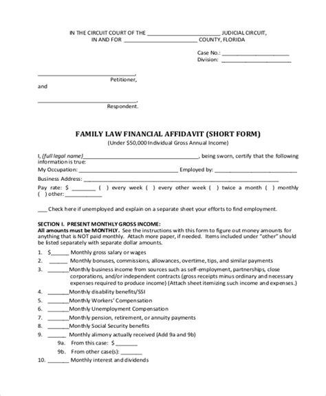 Sle Financial Affidavit Form 8 Free Documents In Pdf Affidavit Template For Family Court